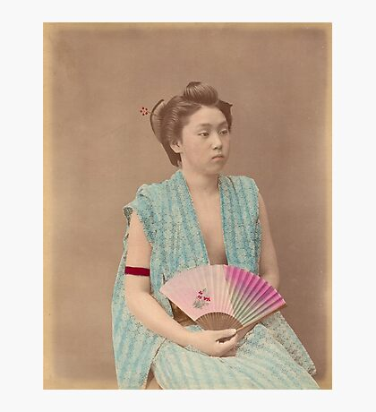 Japanese girl with fan Photographic Print