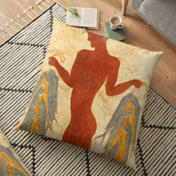 Fresco of the Fisherman from Akrotiri Floor Pillow