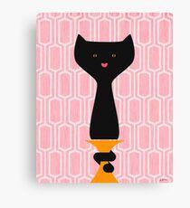 Lienzo Fondo de gato negro rosa