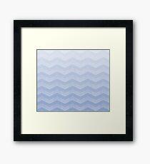 Bright Serenity blue  Chevron Ombre Framed Print