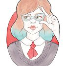 Nerdy, Blue-Haired Minerva in Vintage Glasses by arosecast
