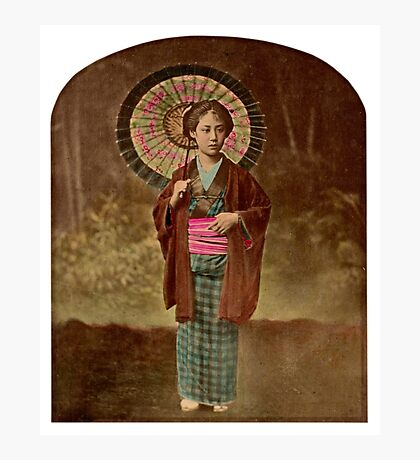 Japanese girl with umbrella Photographic Print