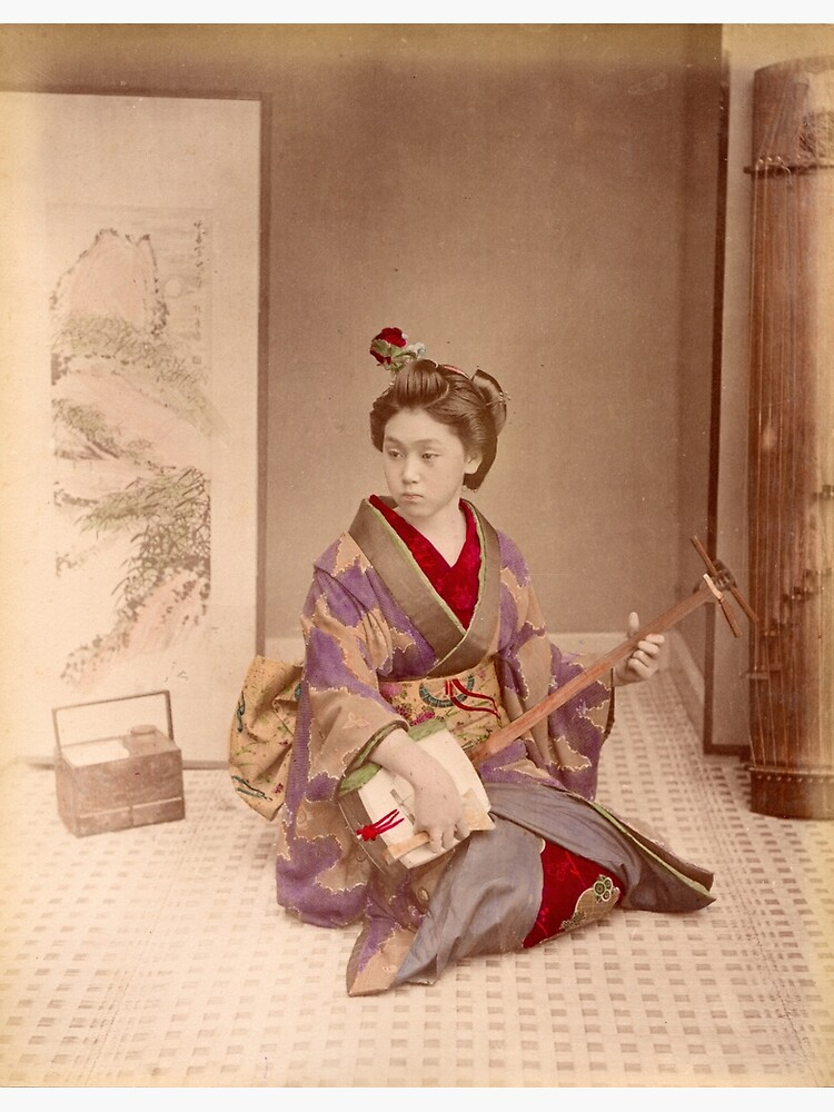 Geisha playing a samisen by Fletchsan