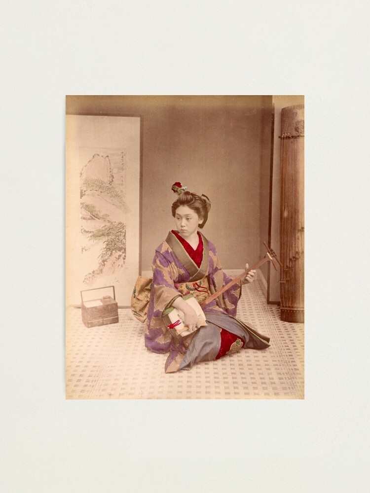 Alternate view of Geisha playing a samisen Photographic Print