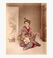Geisha playing a samisen Photographic Print