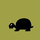 Angry Animals: Tortoise (on olive green background) by VrijFormaat