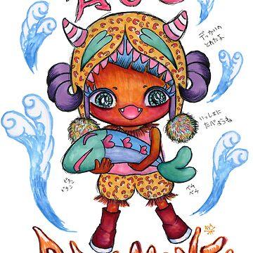 Kawaii Oni Girl Heart Fish by AyaMasuda