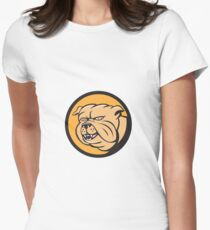 Bulldog Head Circle Cartoon Womens Fitted T-Shirt