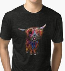 CoW PRiNT SCoTTiSH HiGHLaND ' CoCo ' By SHiRLeY MacARTHuR Tri-blend T-Shirt