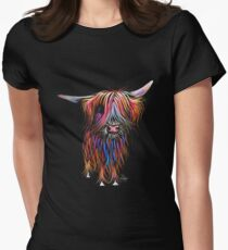 CoW PRiNT SCoTTiSH HiGHLaND ' CoCo ' By SHiRLeY MacARTHuR Fitted T-Shirt