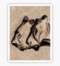 two chauvet cave lions - vertical version Sticker