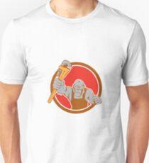 Angry Gorilla Plumber Monkey Wrench Circle Cartoon Unisex T-Shirt