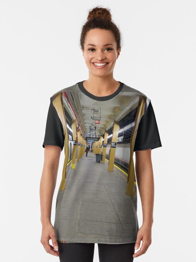 Alternate view of Subway station, New York, Brooklyn, Manhattan, New York City, Buildings, streets, trees Graphic T-Shirt