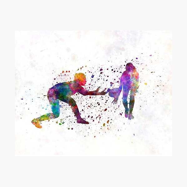 Woman Rugby 02 in watercolor Photographic Print