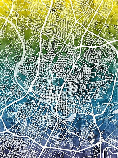 Austin Texas City Map by Michael Tompsett