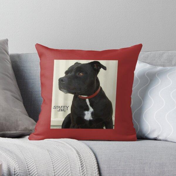 Staffy Dog Throw Pillow