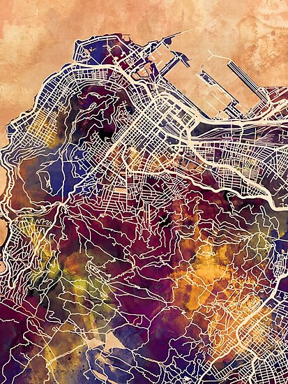 Cape Town South Africa City Street Map by Michael Tompsett