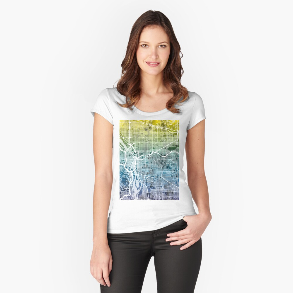 Portland Oregon City Map Women's Fitted Scoop T-Shirt Front