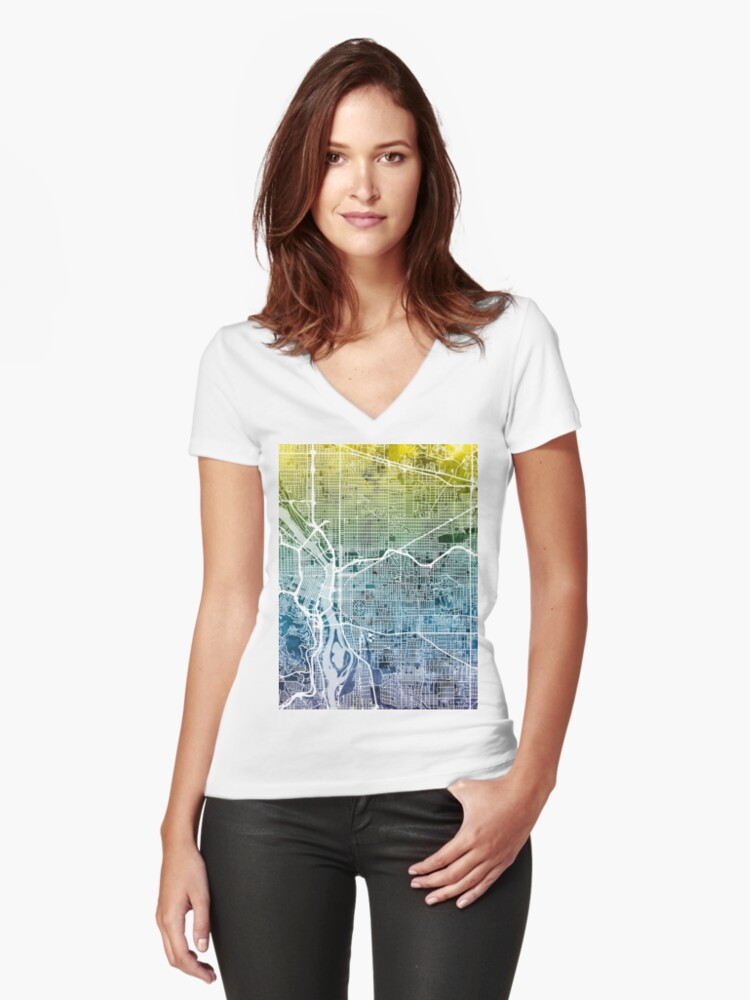 Portland Oregon City Map Women's Fitted V-Neck T-Shirt Front