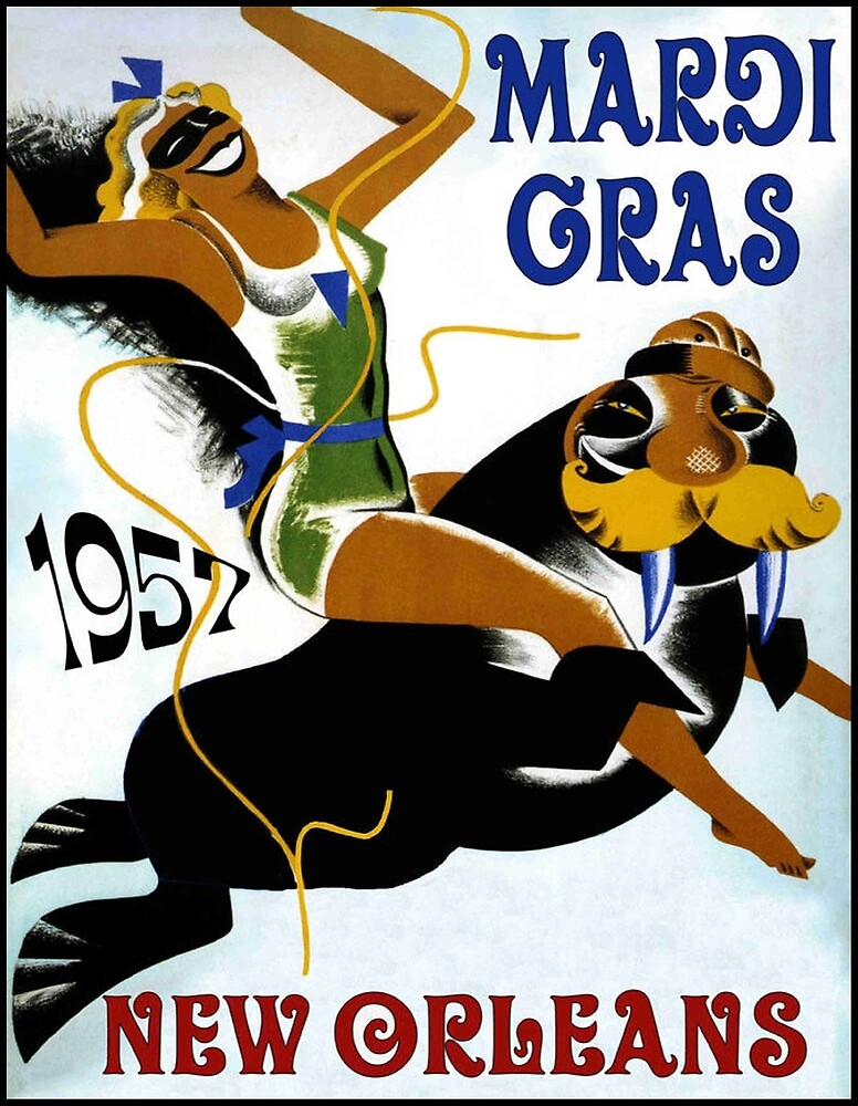 MARDI GRAS : Vintage 1957 New Orleans Festival Advertising Prints by posterbobs