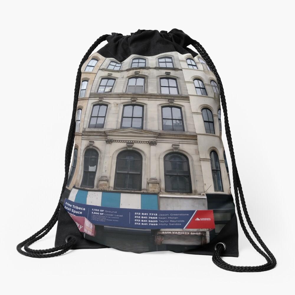 New York, Brooklyn, Manhattan, New York City, Buildings, streets, trees Drawstring Bag
