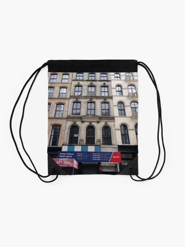 Alternate view of New York, Brooklyn, Manhattan, New York City, Buildings, streets, trees Drawstring Bag