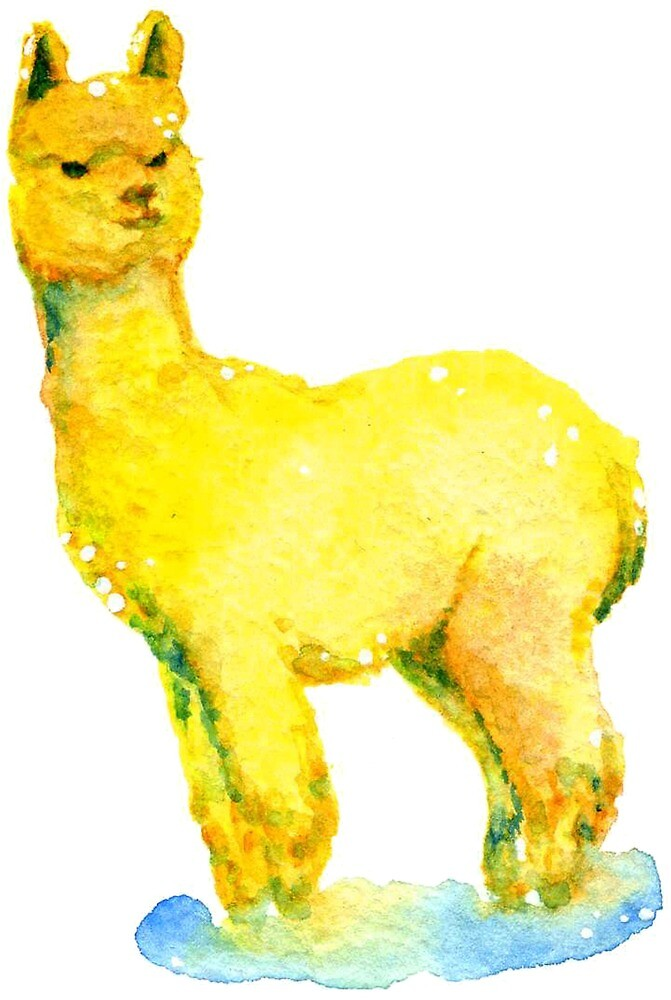 Alpaca art print watercolor painting by Kateryna Somyk