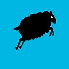 Angry Animals: Sheep (on bright blue background) by VrijFormaat