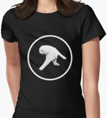Aphex Twin - Two legged cat (white logo) Women's Fitted T-Shirt