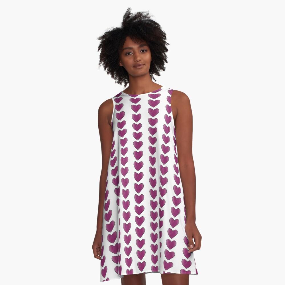 Purple Heart A-Line Dress Front