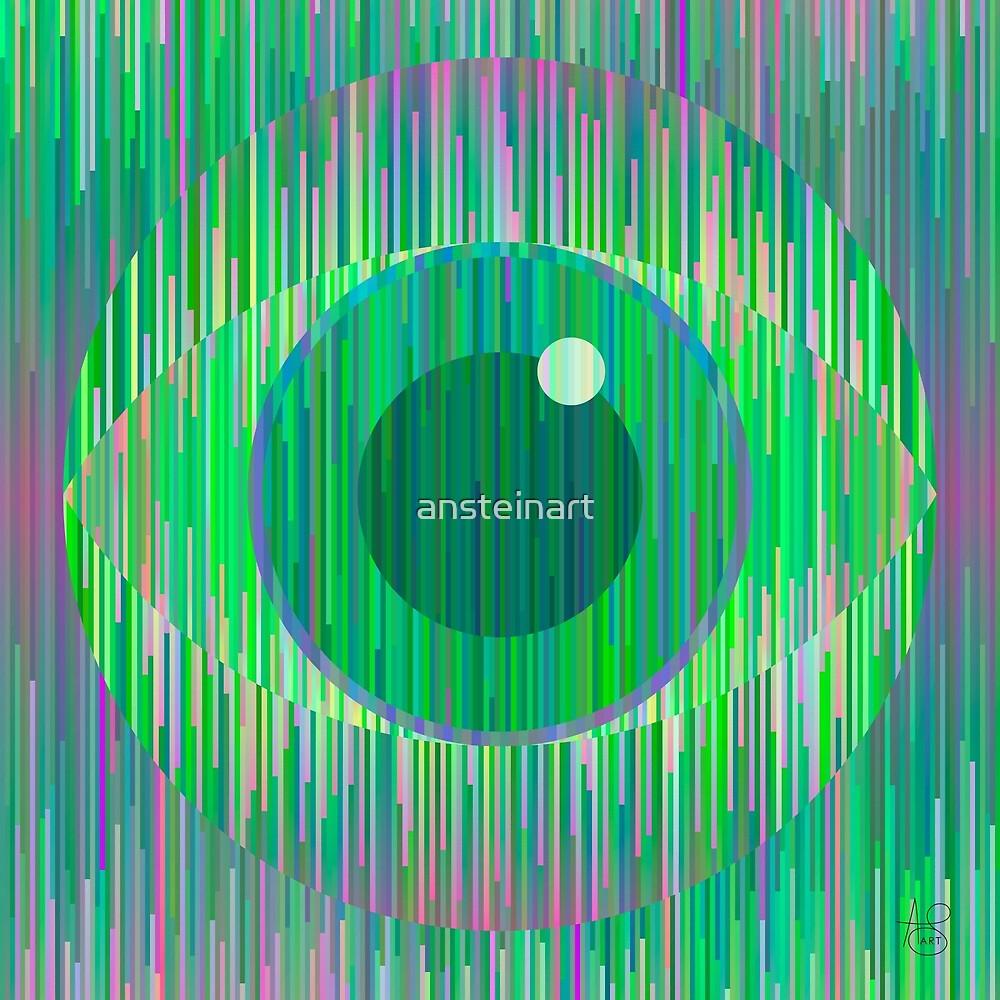 Magic green geometric eye by ansteinart