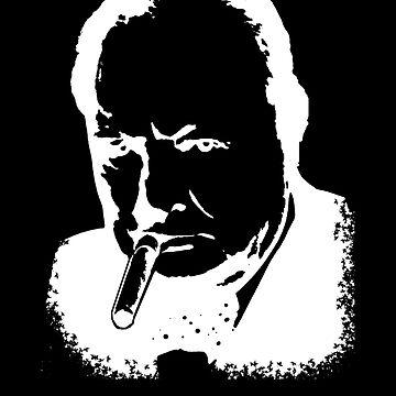 CHURCHILL, Sir Winston Leonard Spencer Churchill, Greatest War Leader, White on Black by TOMSREDBUBBLE