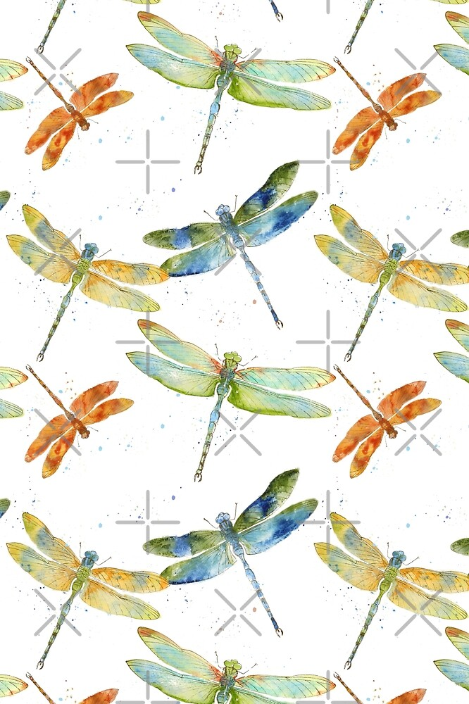 Watercolor Dragonfly Bliss  by Jean Plout