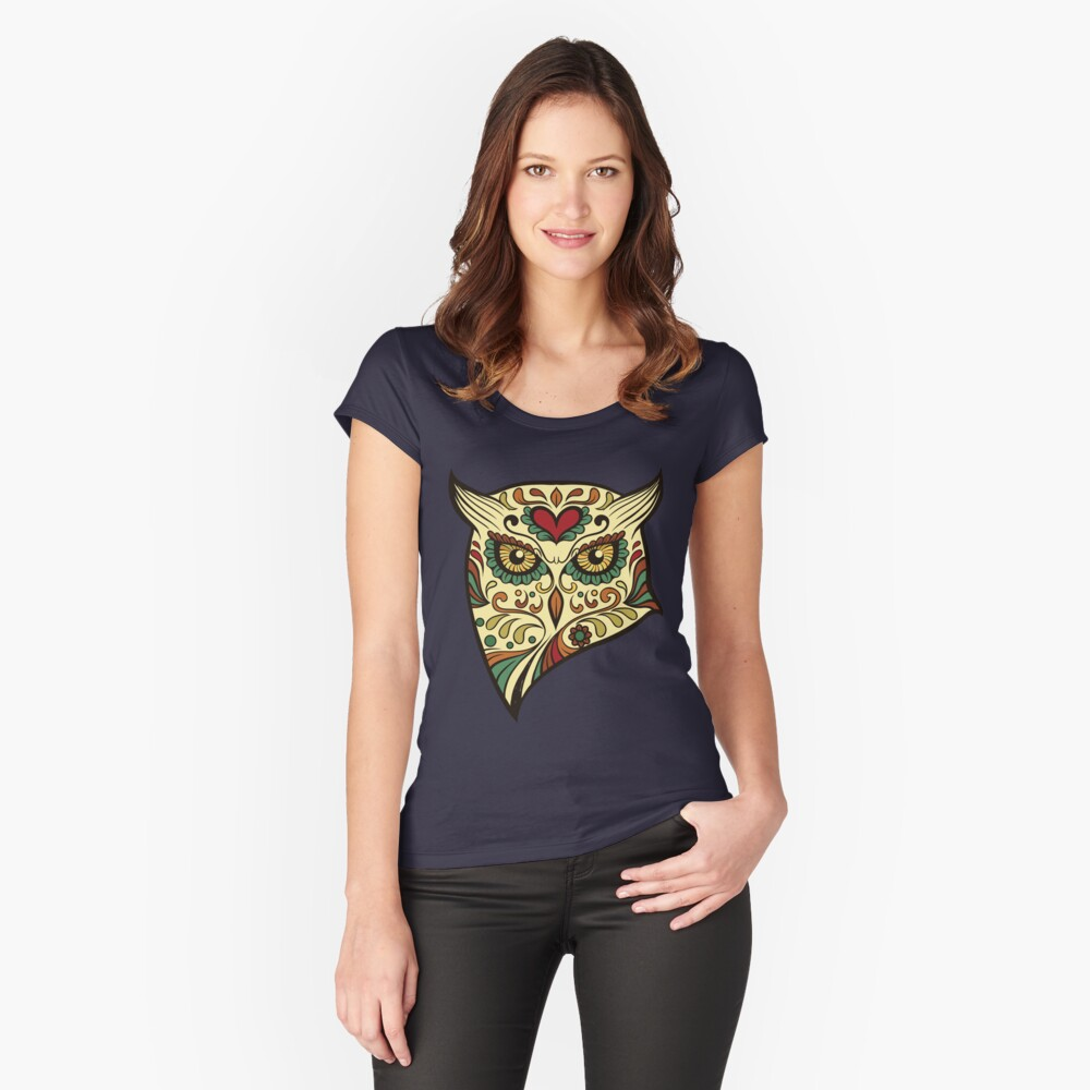 Sugar Skull Owl T-Shirt Women's Fitted Scoop T-Shirt Front