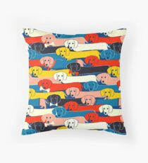 COLORED CUTE DOGS PATTERN 2 Throw Pillow
