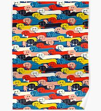 COLORED CUTE DOGS PATTERN 2 Poster