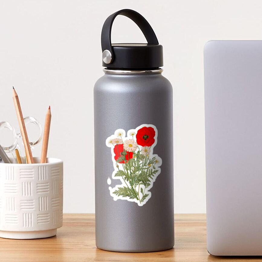 A country garden flower bouquet -poppies and daisies Sticker