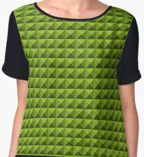 3D Pyramids yellow-green Chiffon Top