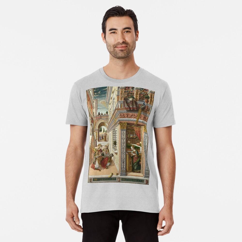 UFOs, in Ancient Art, The Annunciation With Saint Emidus, 1486 Men's Premium T-Shirt Front