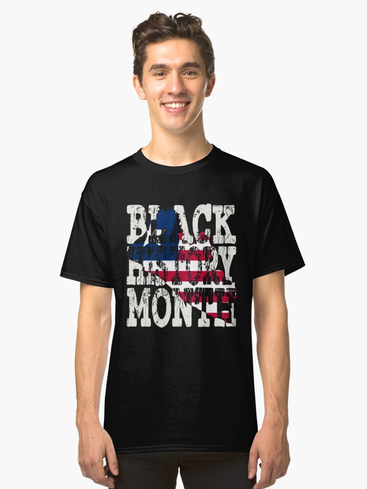 Black History Month Melanin Poppin' Liberian Flag Shape African Black Pride Liberia Monrovia Flag Classic T-Shirt Front