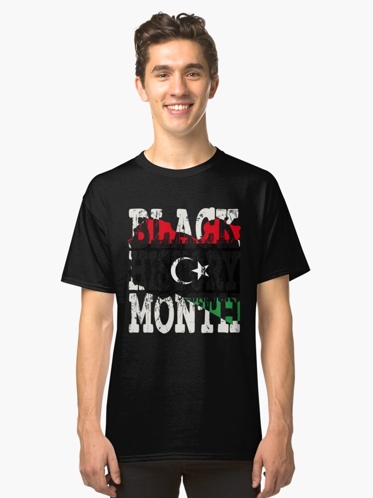 Black History Month Melanin Poppin' Libyan Flag Shape African Black Pride Libya Tripoli Flag Classic T-Shirt Front