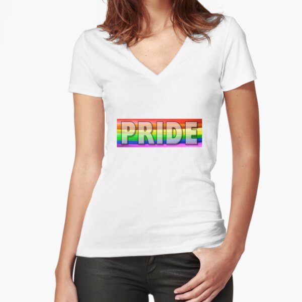 Rainbow Feather Pride Fitted V-Neck T-Shirt