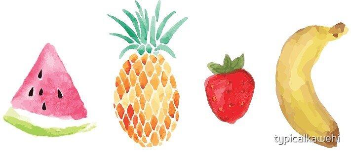 Watercolor Fruit by typicalkawehi