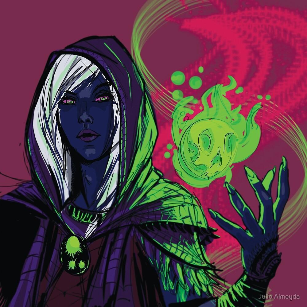 Dark Elf Sorceress by Julio Almeyda