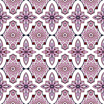 Lavender Moroccan floral with burgundy and navy by MagentaRose