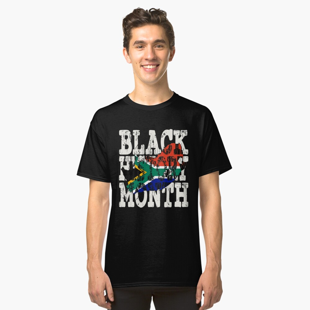 Black History Month Melanin Poppin' South African Flag Shape African Black Pride South Africa Pretoria Flag Classic T-Shirt Front