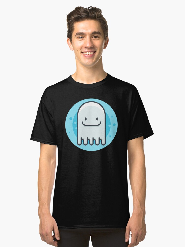 Blue Happy Ghost Classic T-Shirt Front