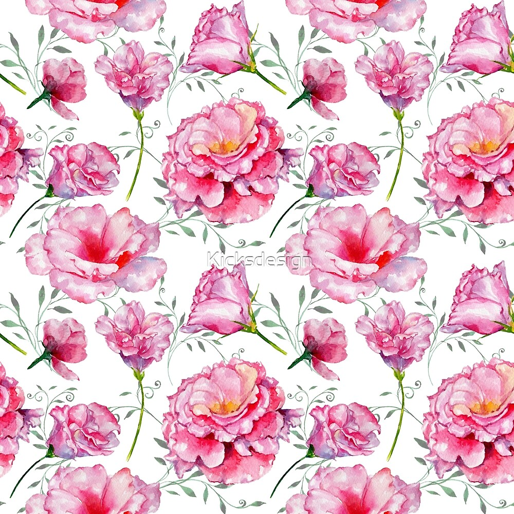 Blush pink green hand painted watercolor roses floral by Kicksdesign