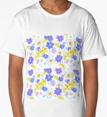 Seamless pattern from spring flowers Long T-Shirt