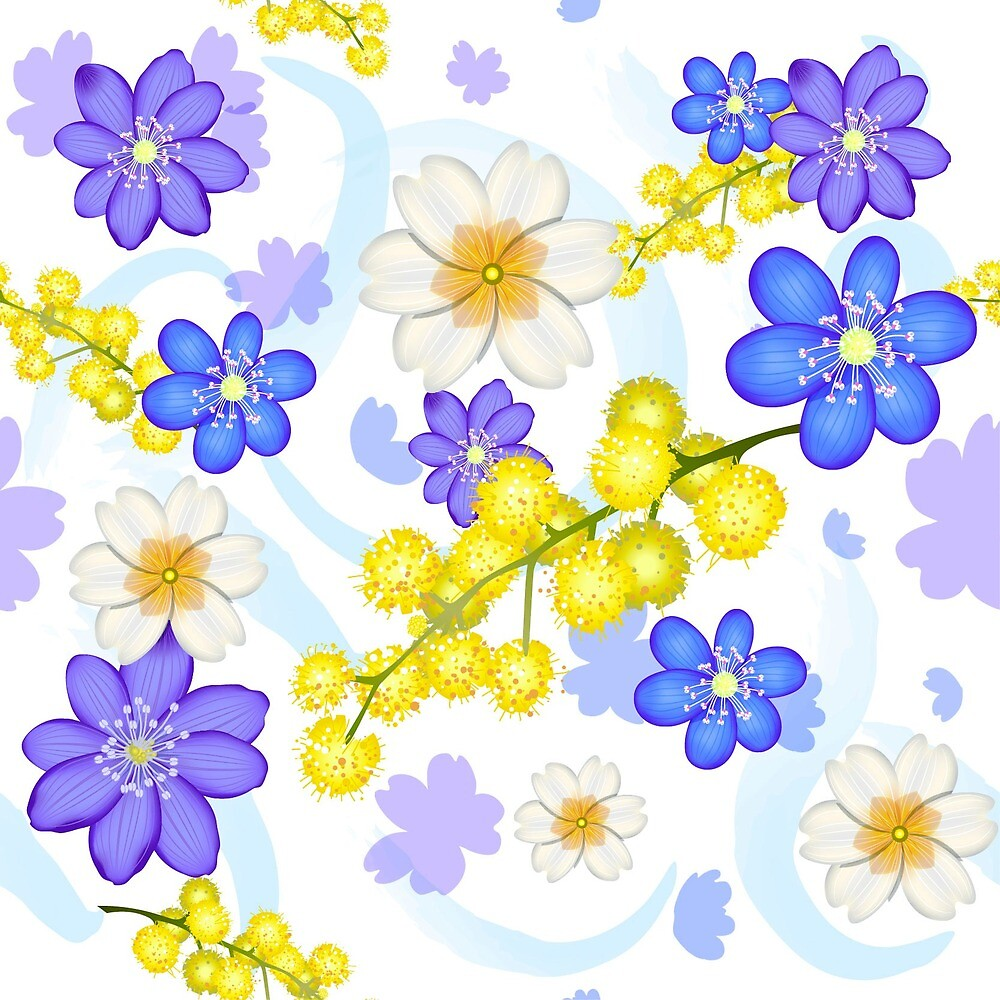 Seamless pattern from spring flowers by Zazulla